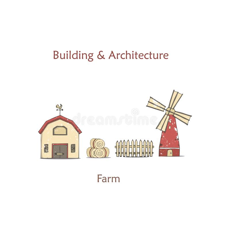 Vector illustration of colorful milk farm life with barn on white background. Vintage village landscape. Hand drawn flat design of royalty free illustration