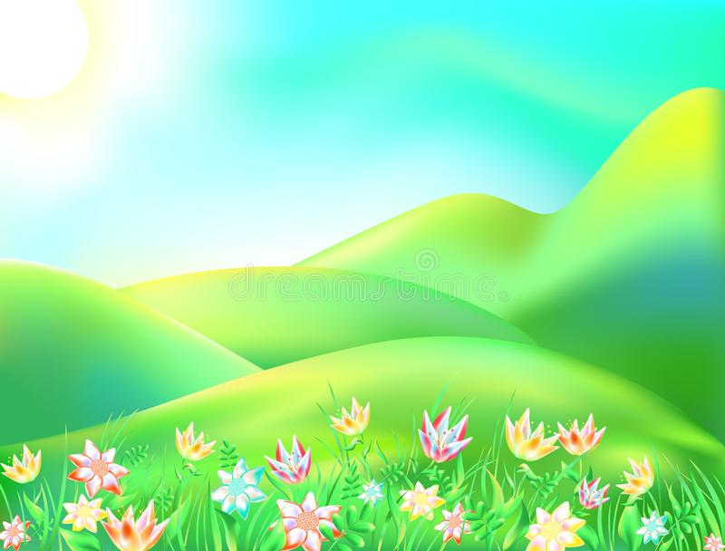 Vector illustration of colorful nature. Cartoon landscape of a sunny summer day. Children background depicts a forest, mountain, r. Iver, trees, sky, apple stock illustration
