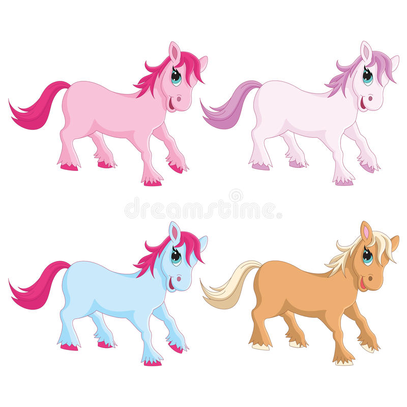Vector Illustration Of Colorful Pony stock illustration