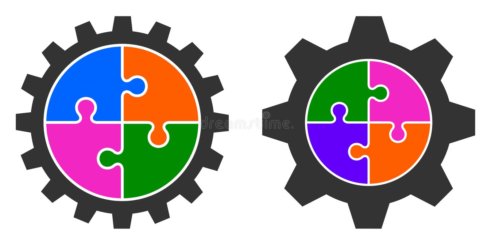 Vector illustration of colorful puzzle gear wheel vector illustration