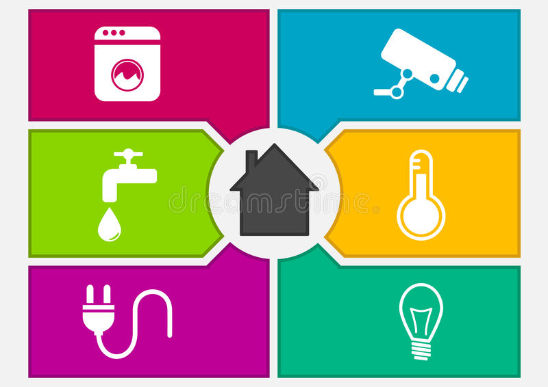 Vector illustration of colorful smart home automation screen. royalty free illustration