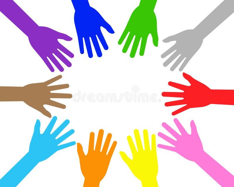 Vector illustration of colorful teamwork people hands stock illustration