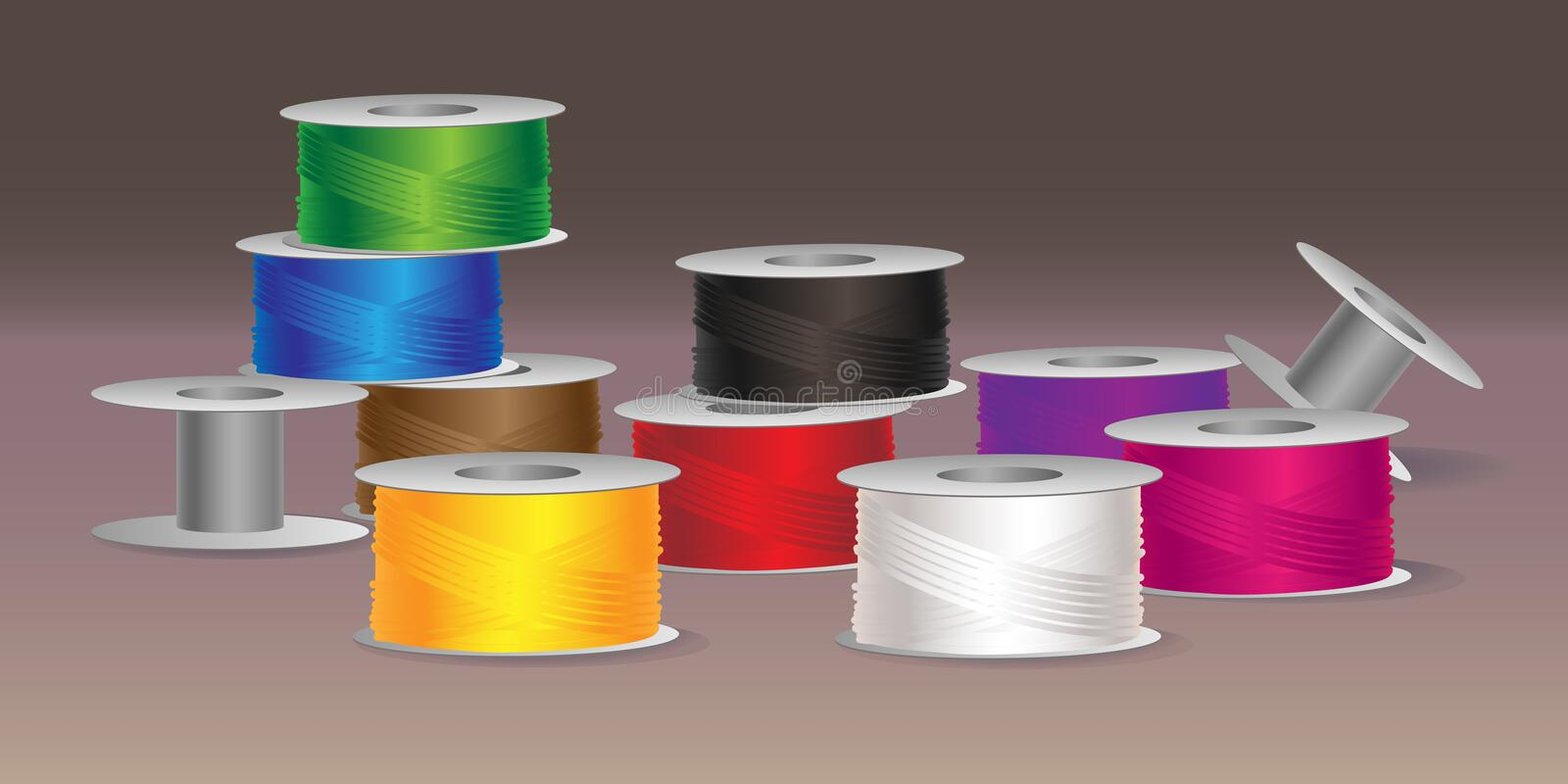 Vector illustration of colorful threads royalty free illustration