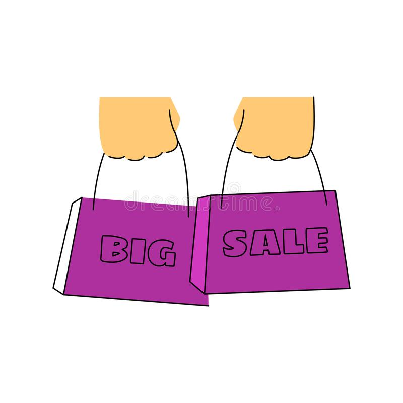 Hands holding packages with the inscription big sale royalty free illustration