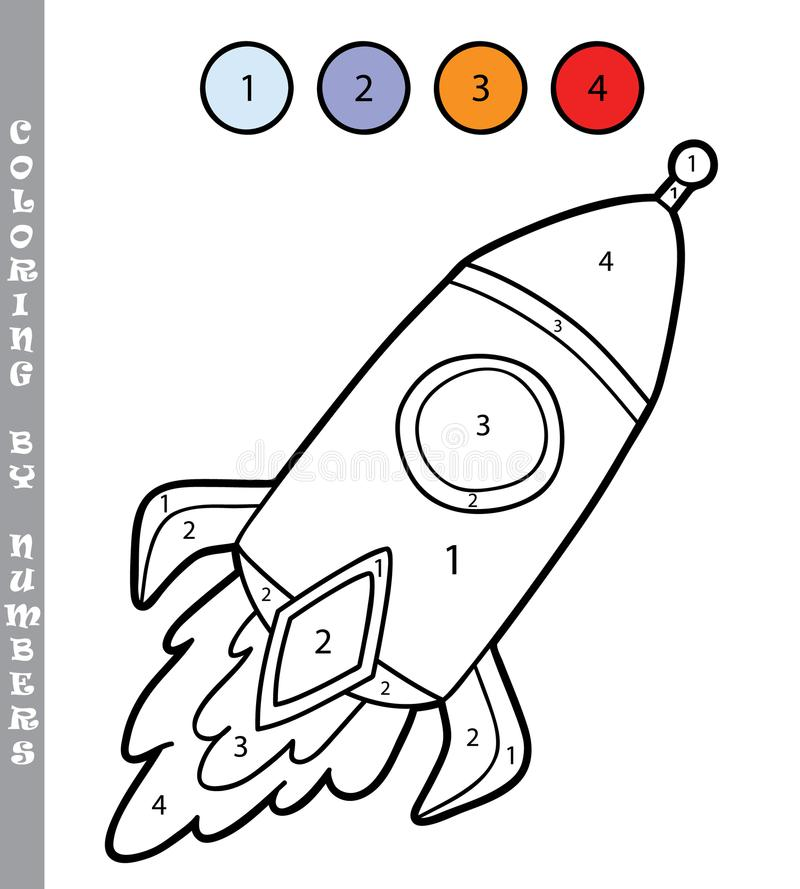 vector illustration coloring numbers educational game cartoon rocket character kids coloring page numbers rocket