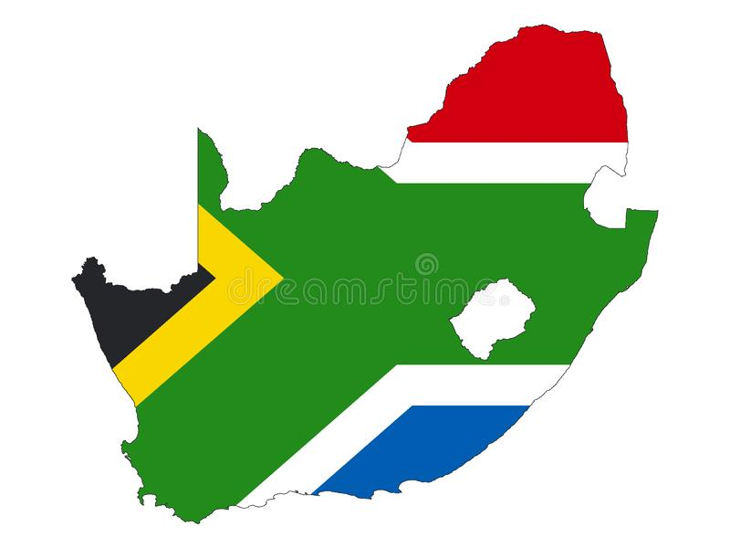 Combined Map and Flag of South Africa. Vector illustration of the Combined Map and Flag of South Africa stock illustration