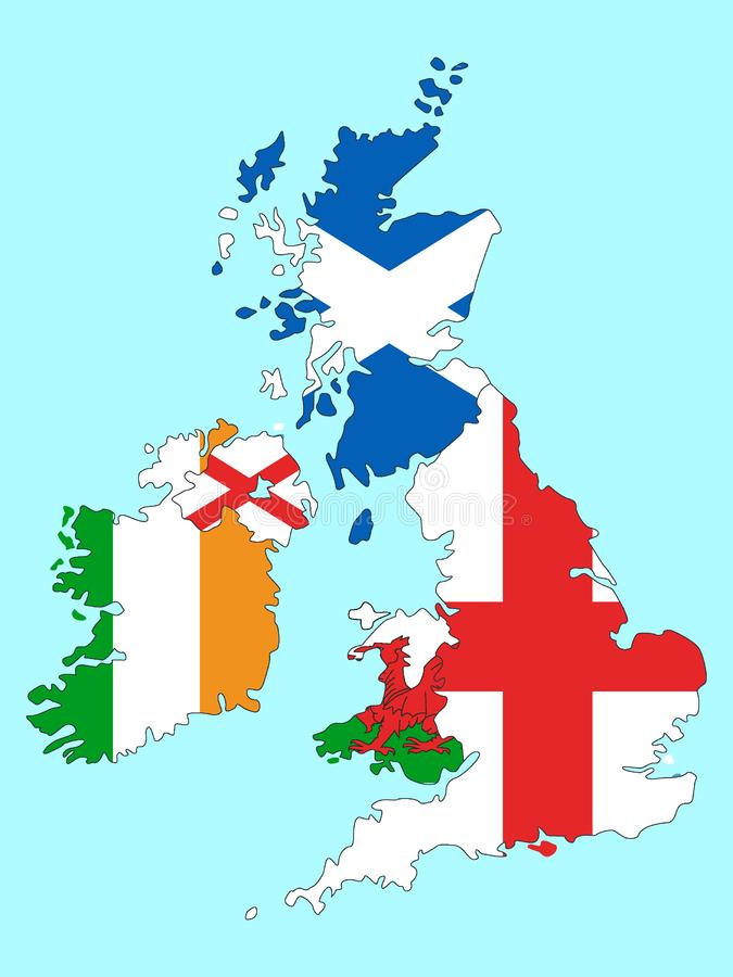 Combined Maps and Flags of United Kingdom and Ireland. Vector Illustration of the Combined Maps and Flags of United Kingdom and Ireland vector illustration