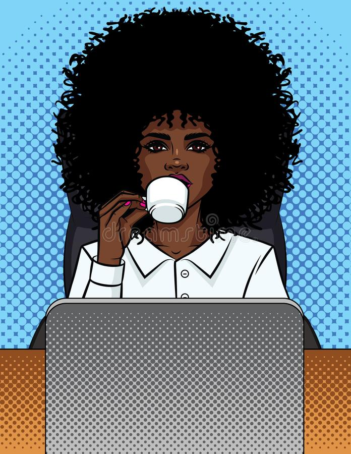 Vector illustration of a comic pop art style business woman sitting in an office and drinking coffee. African American girl secretary in an office chair behind vector illustration