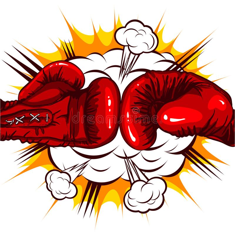Red Boxing gloves retro on the background of the cloud of explosion. Vector illustration of comic style, two red Boxing gloves retro on the background of the royalty free illustration