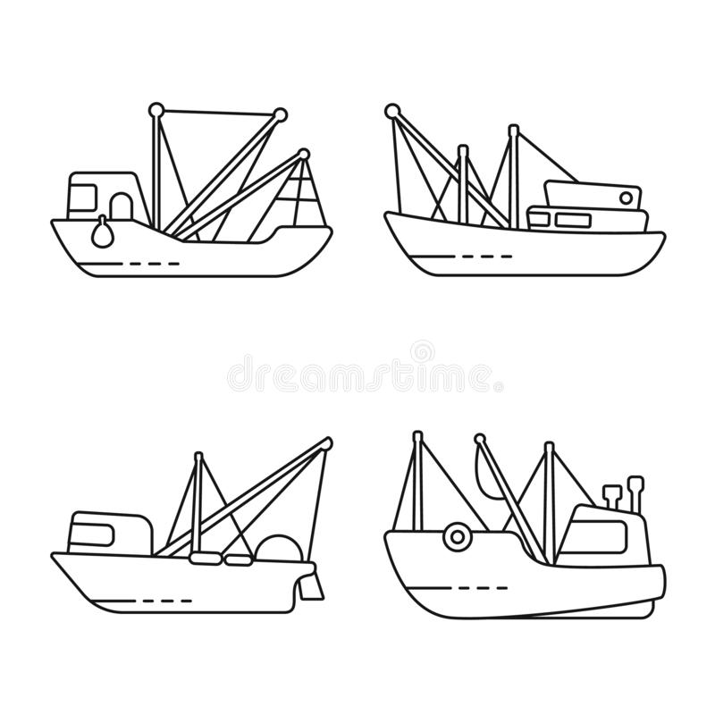 Vector design of commercial and vessel logo. Collection of commercial and speedboat vector icon for stock. Vector illustration of commercial and vessel icon royalty free illustration