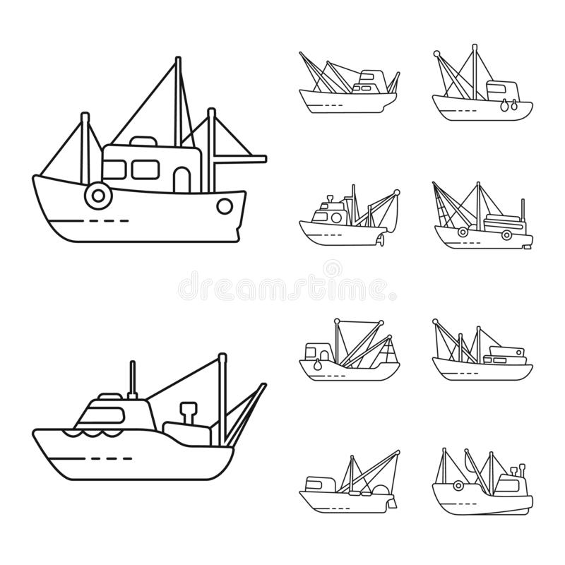 Vector illustration of commercial and vessel logo. Collection of commercial and speedboat stock symbol for web. Isolated object of commercial and vessel icon royalty free illustration
