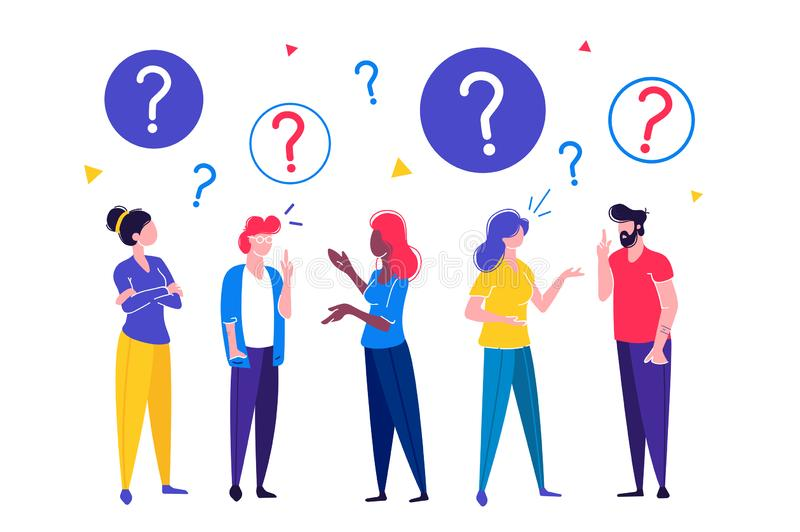 Communication of people. Vector illustration of communication of people in search of solutions to problems, use in web-projects and applications, collective vector illustration
