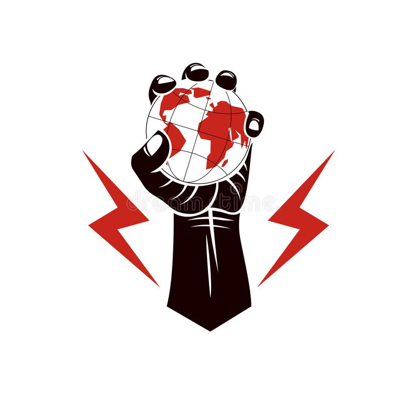 Vector illustration composed using strong muscular raised arm wi. Th lightning symbol and holding Earth globe. Authority as the means of global control and vector illustration