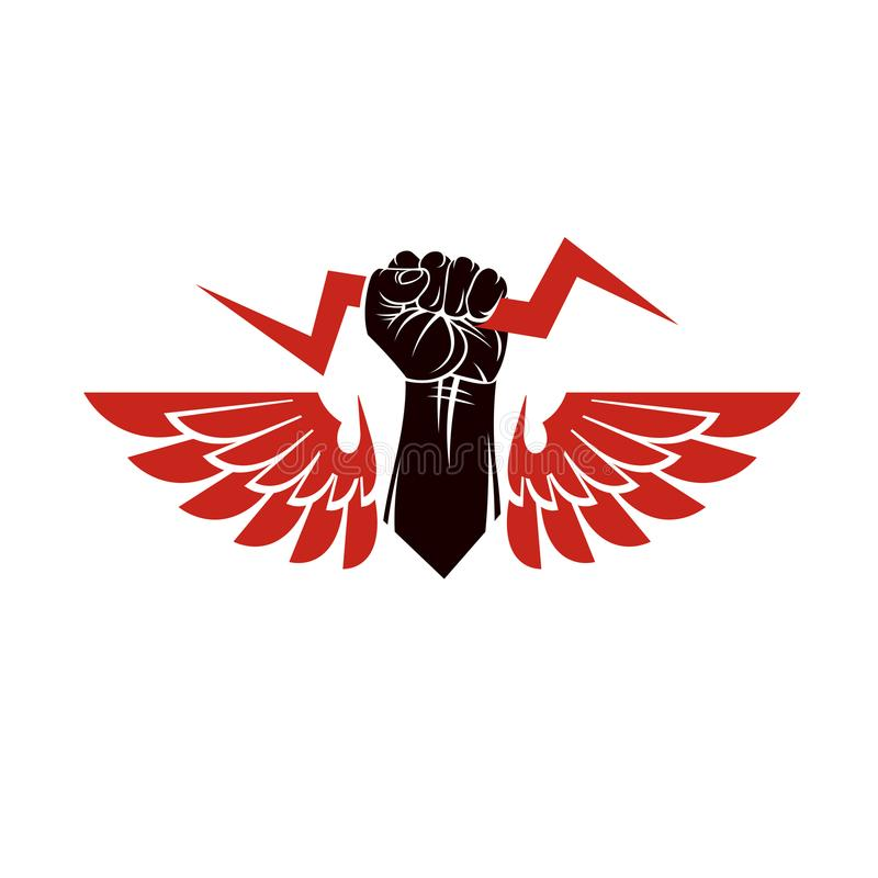 Vector illustration composed using strong muscular raised. Clenched fist made with lightning symbol. Power and authority concept stock illustration