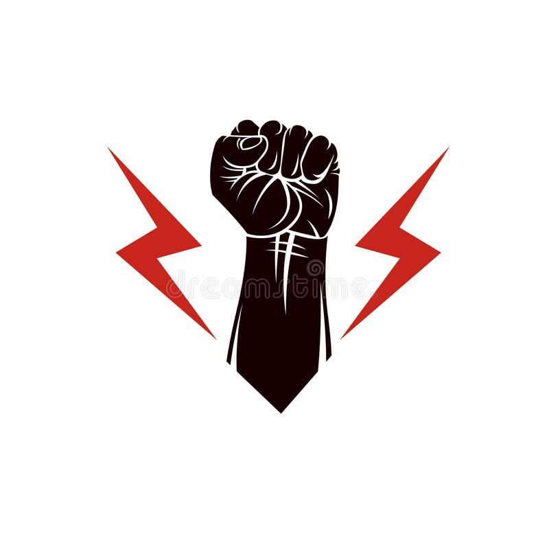 Vector illustration composed using strong muscular raised clench. Ed fist made with lightning symbol. Power and authority concept royalty free illustration