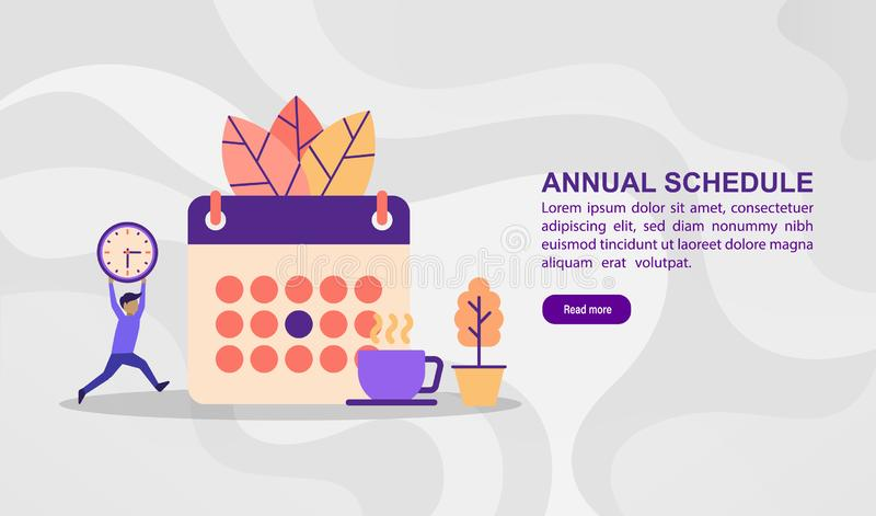 Vector illustration concept of annual schedule. Modern illustration conceptual for banner, flyer, promotion, marketing material,. Online advertising, business stock image