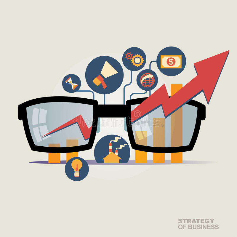 Vector illustration concept for business strategy and industrial planning. Economic and statistic. Business Plan royalty free stock images