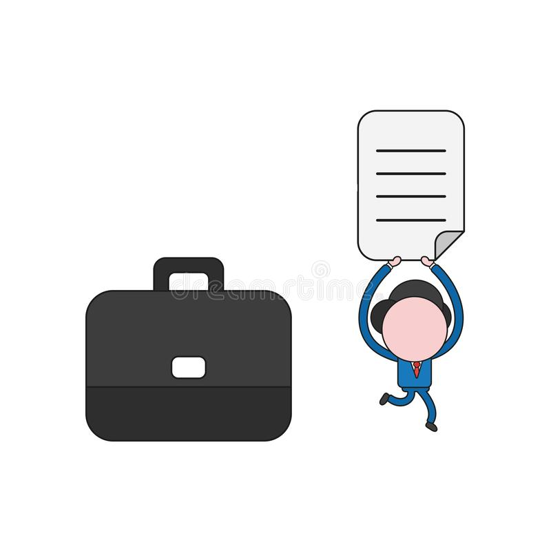 Vector illustration of businessman character with briefcase and running, holding up written paper. Color and black outlines stock illustration