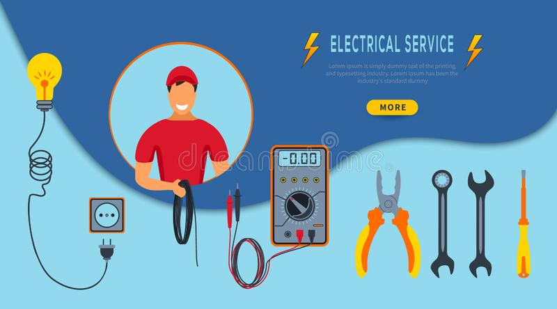 Vector Illustration Concept Electrical service. Horizontal banner  with cartoon electrician in red uniform holding cable. vector illustration