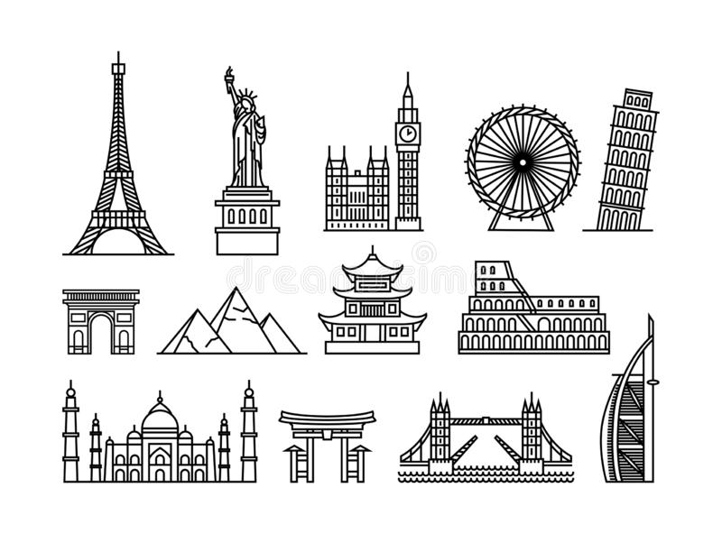 Vector illustration concept of famous touristic buildings. Black on white background stock illustration