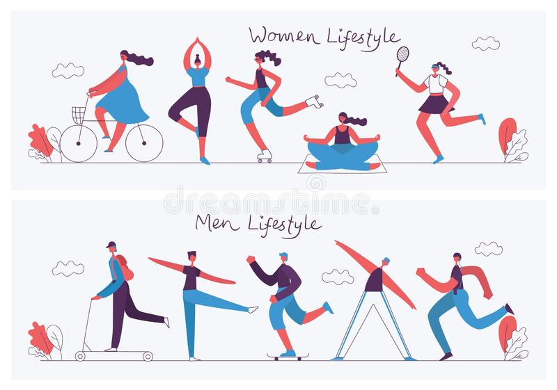 Concept flat design of healthy lifestyle. Vector illustration concept flat design of men and women doing sport and healthy lifestyle background royalty free illustration