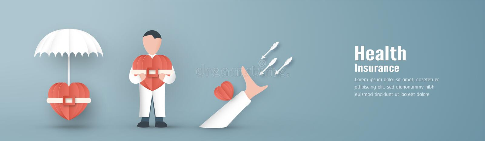 Vector illustration in concept of health insurance. Template design is on pastel blue background in 3D paper cut style. Banner benefit claim clinic cover craft royalty free illustration