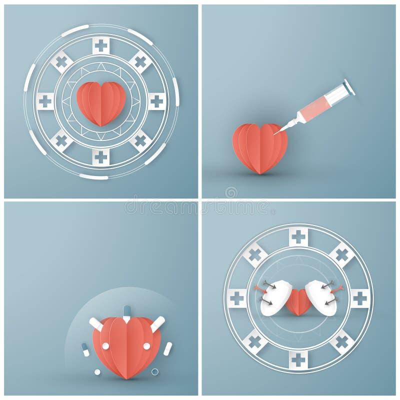 Vector illustration in concept of health insurance. Template element design is on pastel blue background for cover, web banner,. Poster, slide presentation. Art stock illustration
