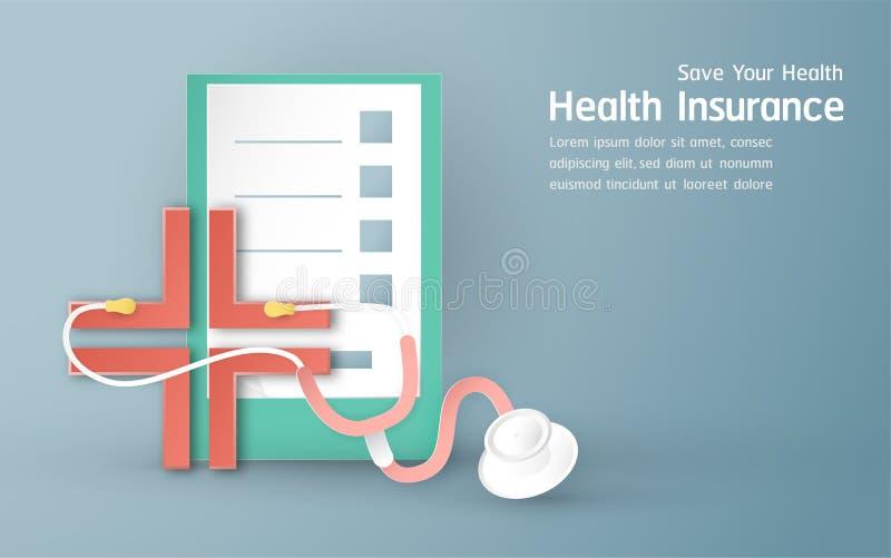 Vector illustration in concept of health insurance. Template element design is on pastel blue background for cover, web banner,. Poster, slide presentation. Art vector illustration