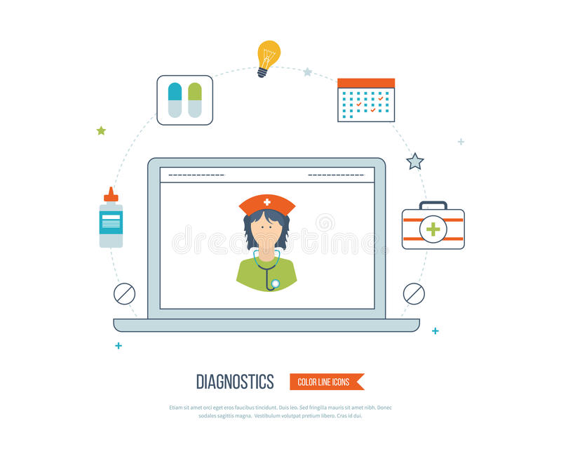 Vector illustration concept for healthcare, medical help and research. royalty free illustration