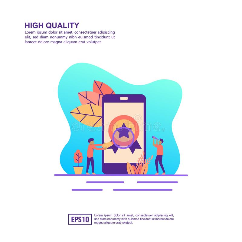 Vector illustration concept of high quality. Modern illustration conceptual for banner, flyer, promotion, marketing material, stock image