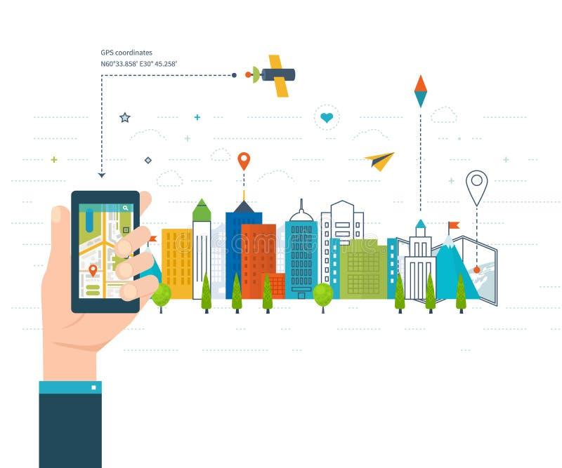 Vector illustration concept of holding smart-phone with mobile navigation. stock illustration