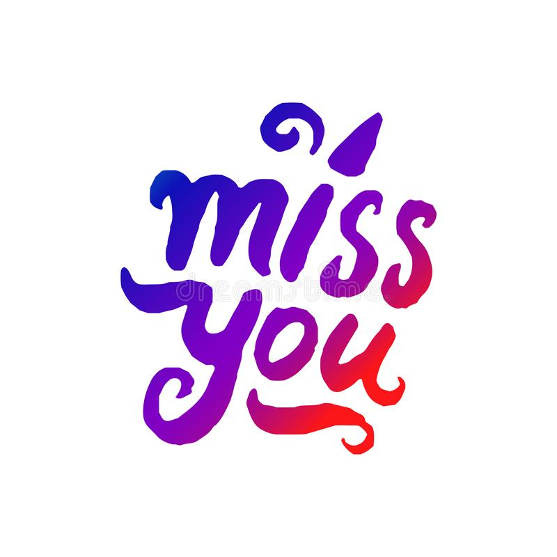 Vector illustration concept of Miss you word lettering colorful icon. vector illustration