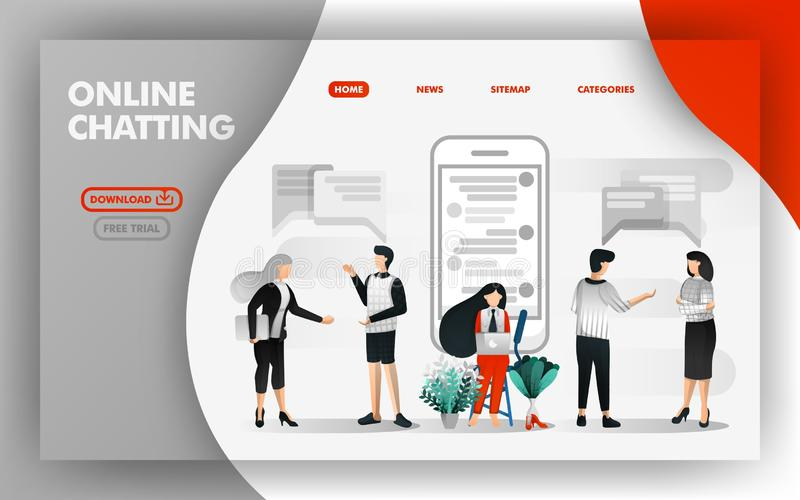 Vector Illustration Concept of online chatting. People talking to each other and girls chatting with online apps. Easy to use for stock illustration