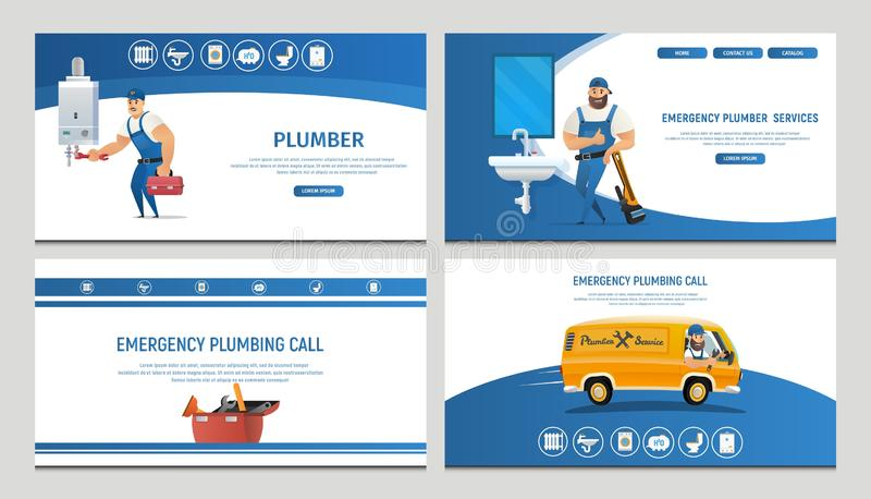 Vector Illustration Concept Page Plumber Service. Banner Vector Image Cartoon Set Web Page Plumbing Repair and Installation Plumbing. Plumber. Emergency royalty free illustration