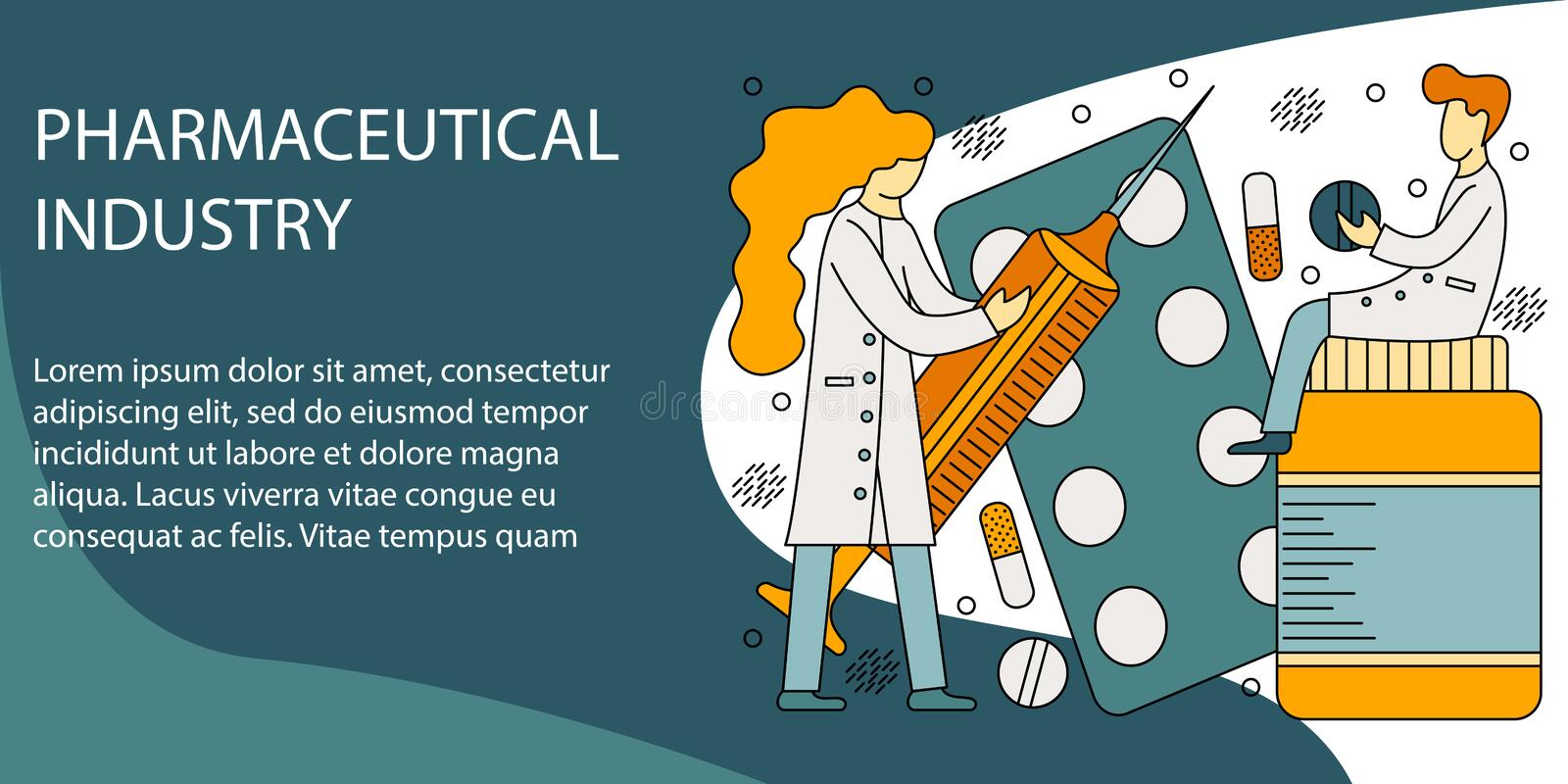 Vector illustration concept of pharmaceutical industry. Creative flat design for web banner, marketing material, business presentation royalty free illustration