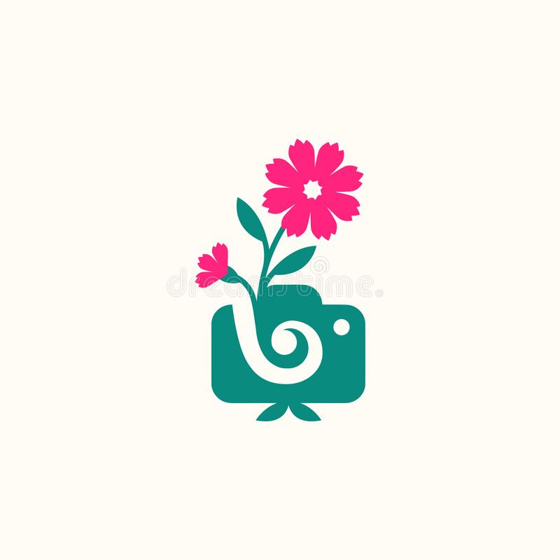 Vector illustration concept of photography camera logo icon template with flower stock illustration