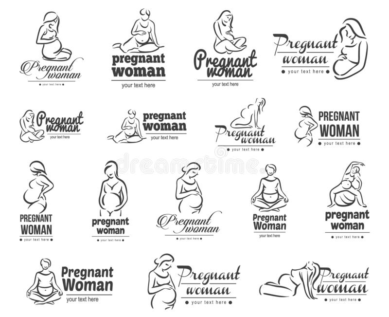 Vector illustration concept of pregnant yoga. Icon on white background royalty free illustration