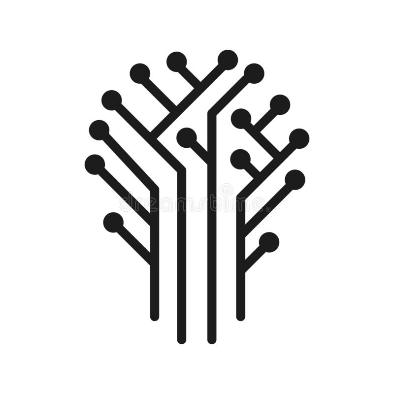 Vector illustration concept of Technical circuit tree graphic. Icon on white background stock illustration
