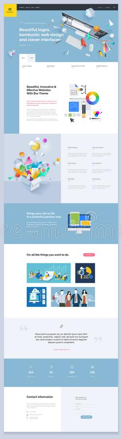 One page website template design royalty free illustration