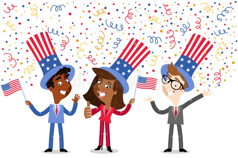 Vector illustration: Confetti showering cartoon group of American business people wearing stars and stripes hats Independence Day. Vector illustration of royalty free illustration