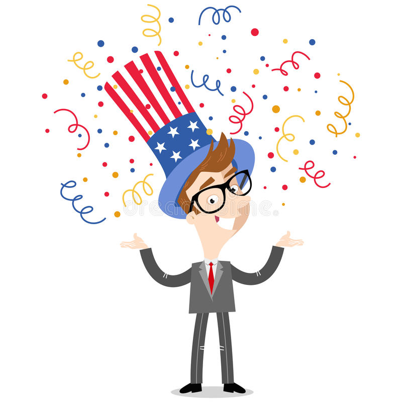 Vector illustration of confetti showering patriotic cartoon American businessman wearing stars and stripes hat Fourth of July. Vector illustration of confetti vector illustration