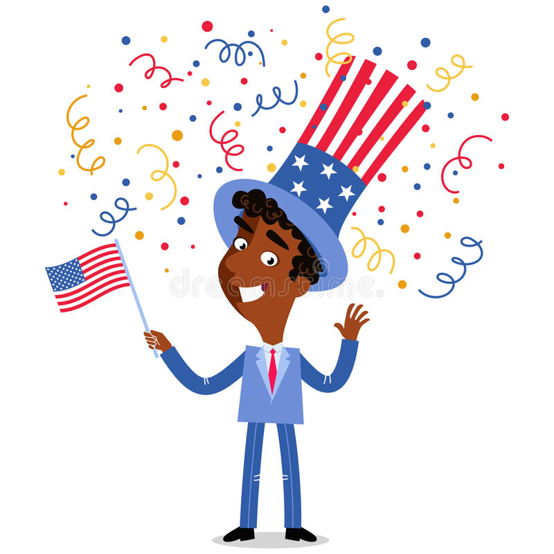 Vector illustration of confetti showering patriotic cartoon American businessman wearing stars and stripes hat July Fourth. Vector illustration of confetti vector illustration