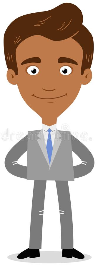 Vector illustration of a confident asian cartoon businessman smiling friendly with arms behind his back. Isolated on white background stock illustration