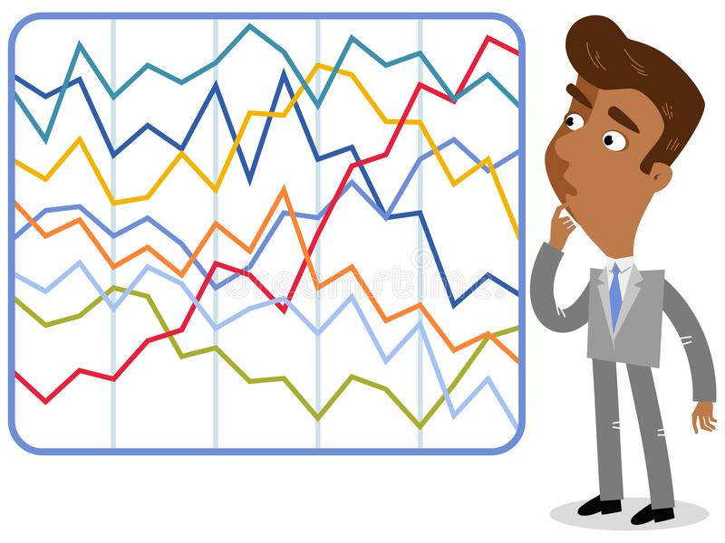 Vector illustration of a confused asian cartoon businessman looking at complicated colorful statistics. vector illustration