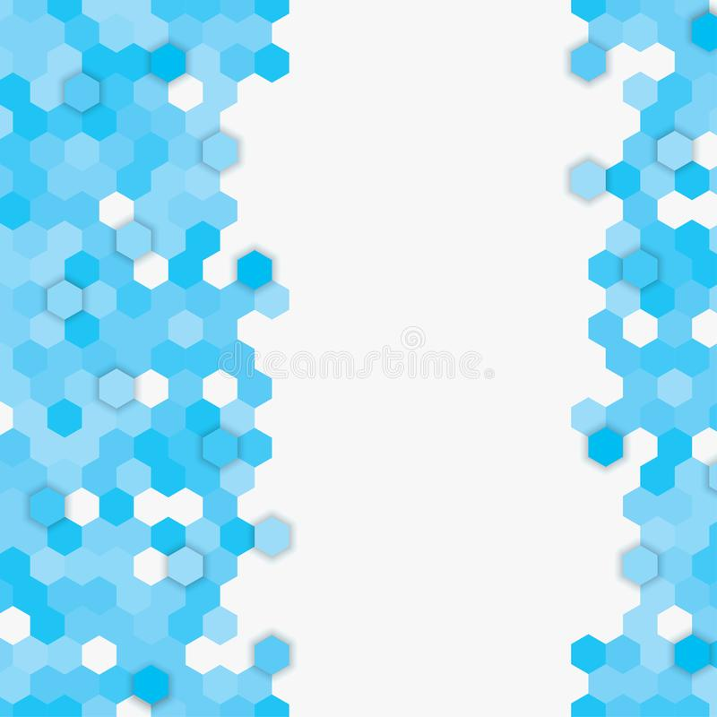 Vector banner consisting of blue honeycomb tiles stock illustration