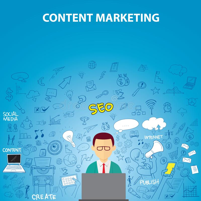 Content Marketing Doodle stock illustration