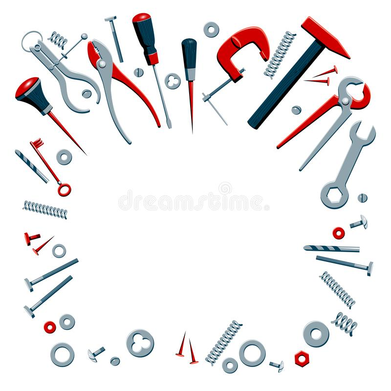 Vector illustration of the contents of a builder toolbox. Household tools arranged in a design composition. Tools of a. Handyman for business card, master class vector illustration
