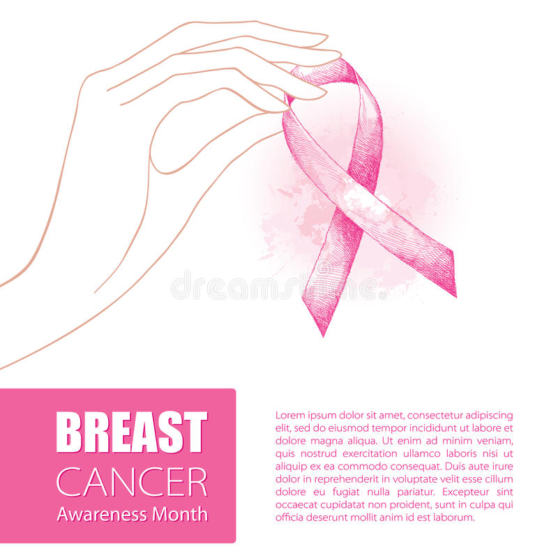 Vector illustration with contour woman hand and pink ribbon on white background. Breast Cancer Awareness Month symbol. Design for international health campaign stock illustration