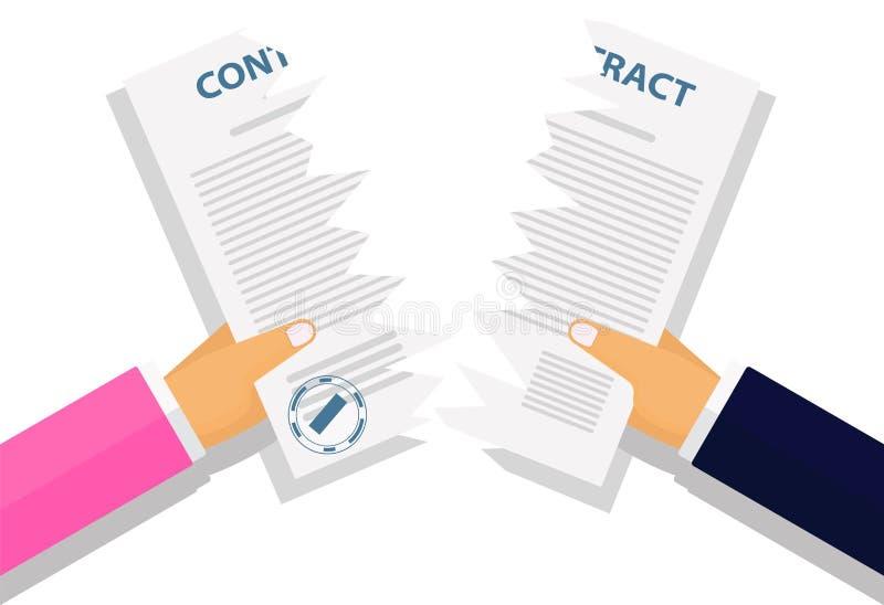 Vector illustration. Contract termination concept. vector illustration
