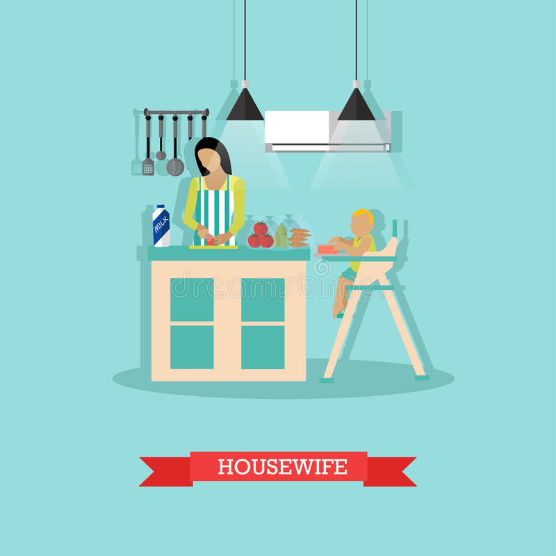Vector illustration of cooking housewife and little son in kitchen. Vector illustration of mother and little son in kitchen. Woman is cooking, little boy is vector illustration